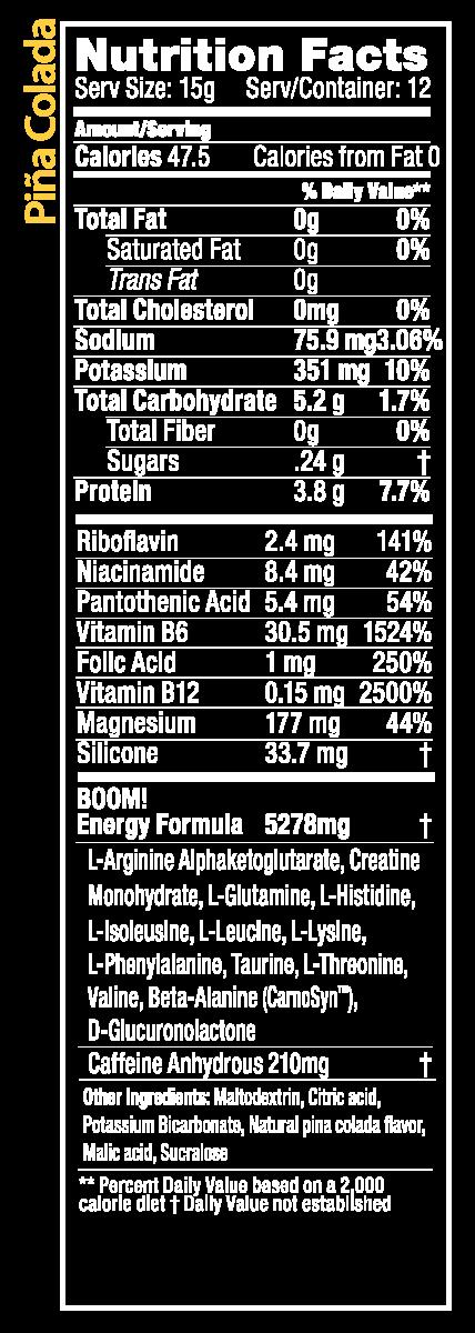 Piña Colada BOOM Power Rush Nutrition Facts