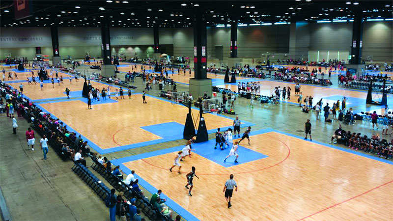 Convention Center Turned Into Basketball Tournament with Sport Court Basketball Courts