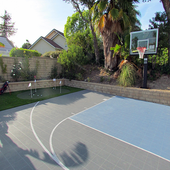 Backyard Home Basketball Court with Sport Court Athletic Tiles and Hoop
