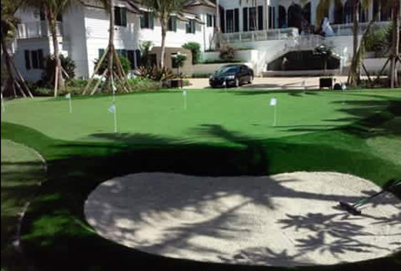 Backyard Putting Green with Sand Trap